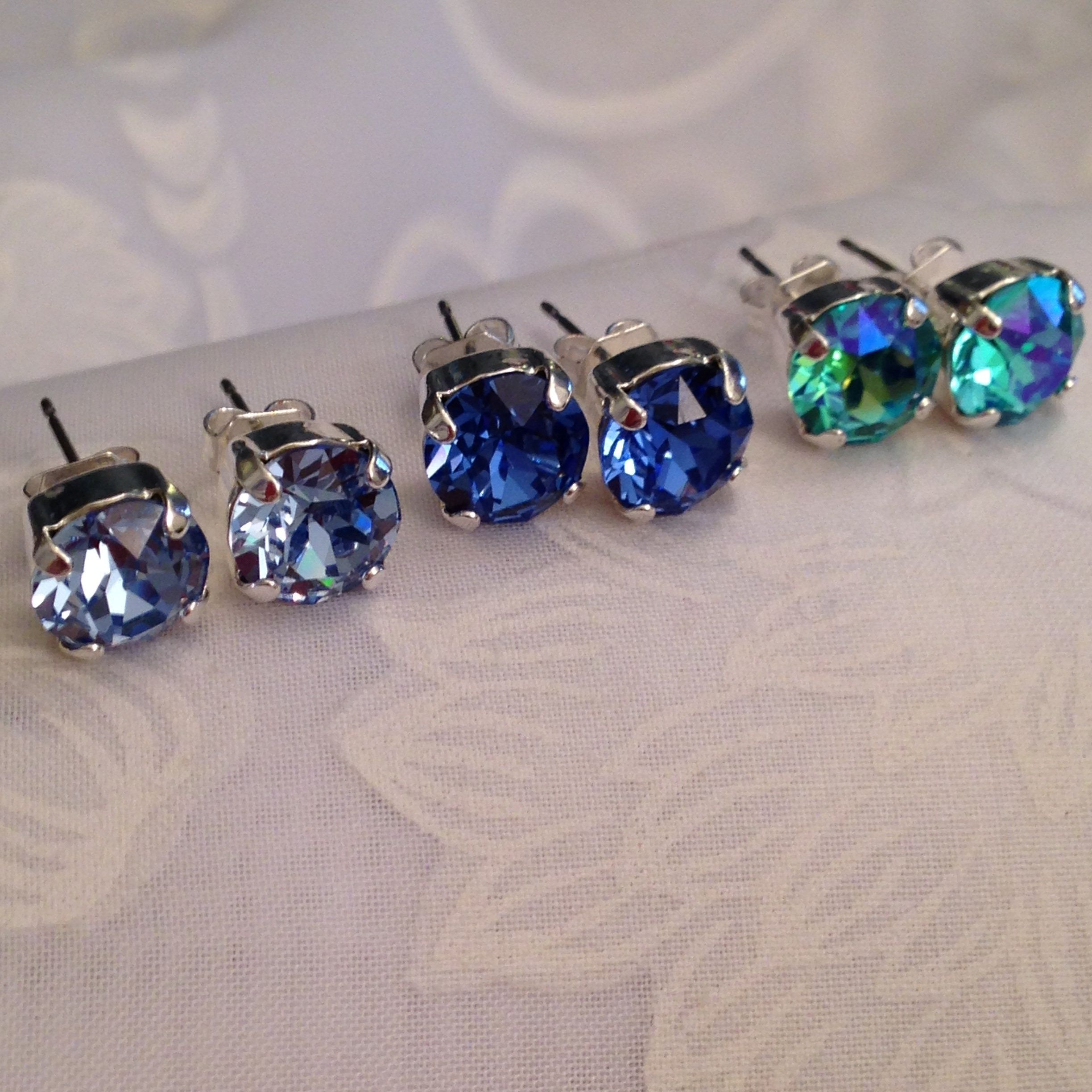 86024d552f507b New Swarovski Ocen Blue Pallette Stud Set #etsy shop: Three Swarovski Stud  Earring Set