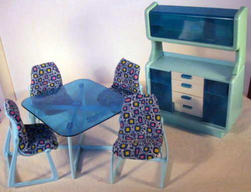 Barbie Dolls Hello Dreamhouse Dollhouse W Kitchen: Vintage 1960s Barbie Dining Room Set Furniture Doll