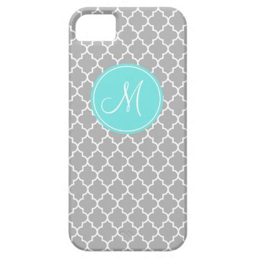 Monogram Gray Quatrefoil Pattern iPhone 5/5s Case