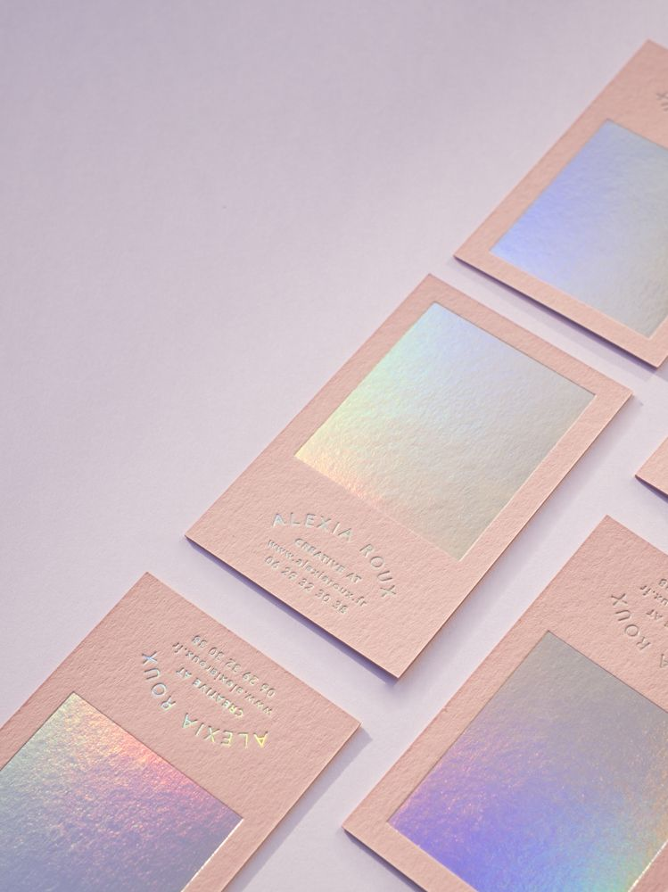 Alexia ROUX Pink & Holographic   Business Cards   Pinterest ...
