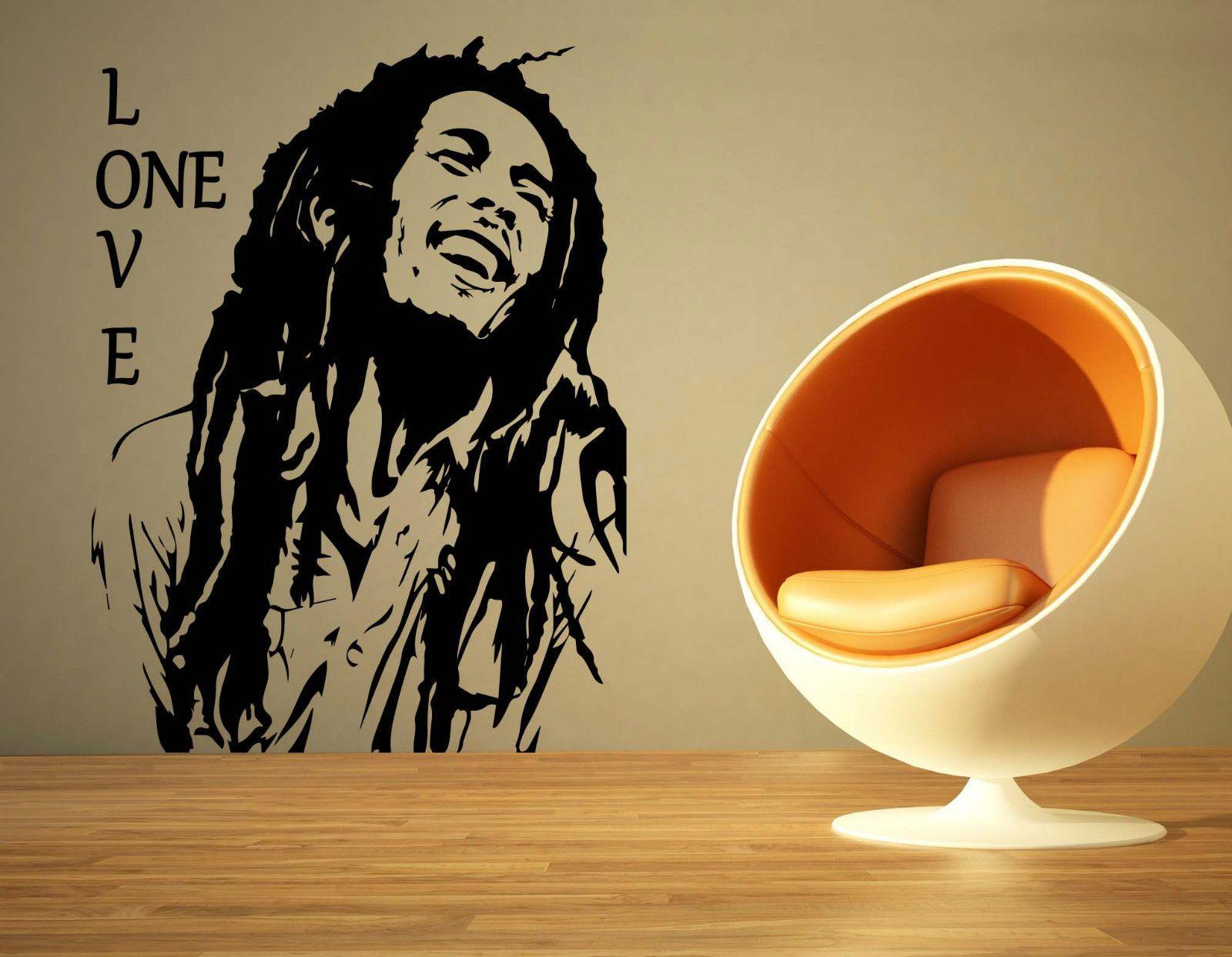 Bob Marley Music One Love Reggae Rasta Album Wall Art Sticker | Bob ...