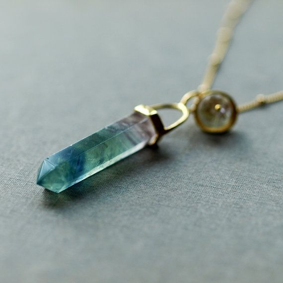 Fluorite Crystal Spear Necklace Gemstone Point by ShopClementine, $88.00