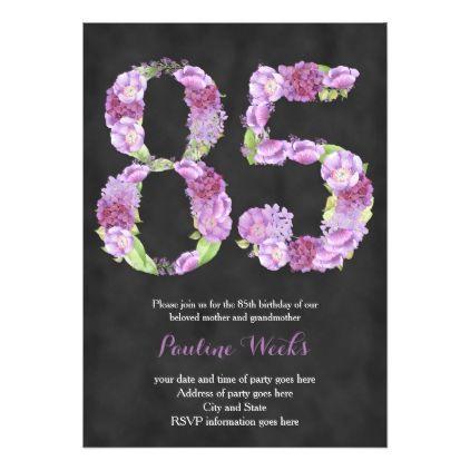 Female 85th Birthday Invitations Lavender Invites