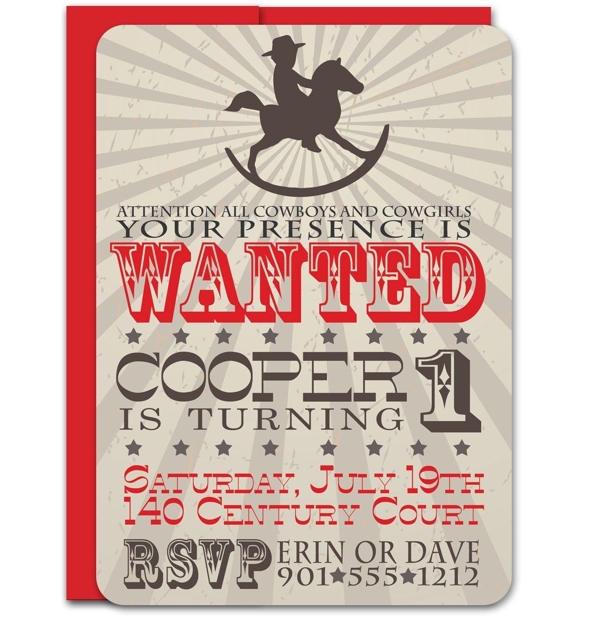 Cowboy First Birthday Invitation 2250 via Etsy Farm Party