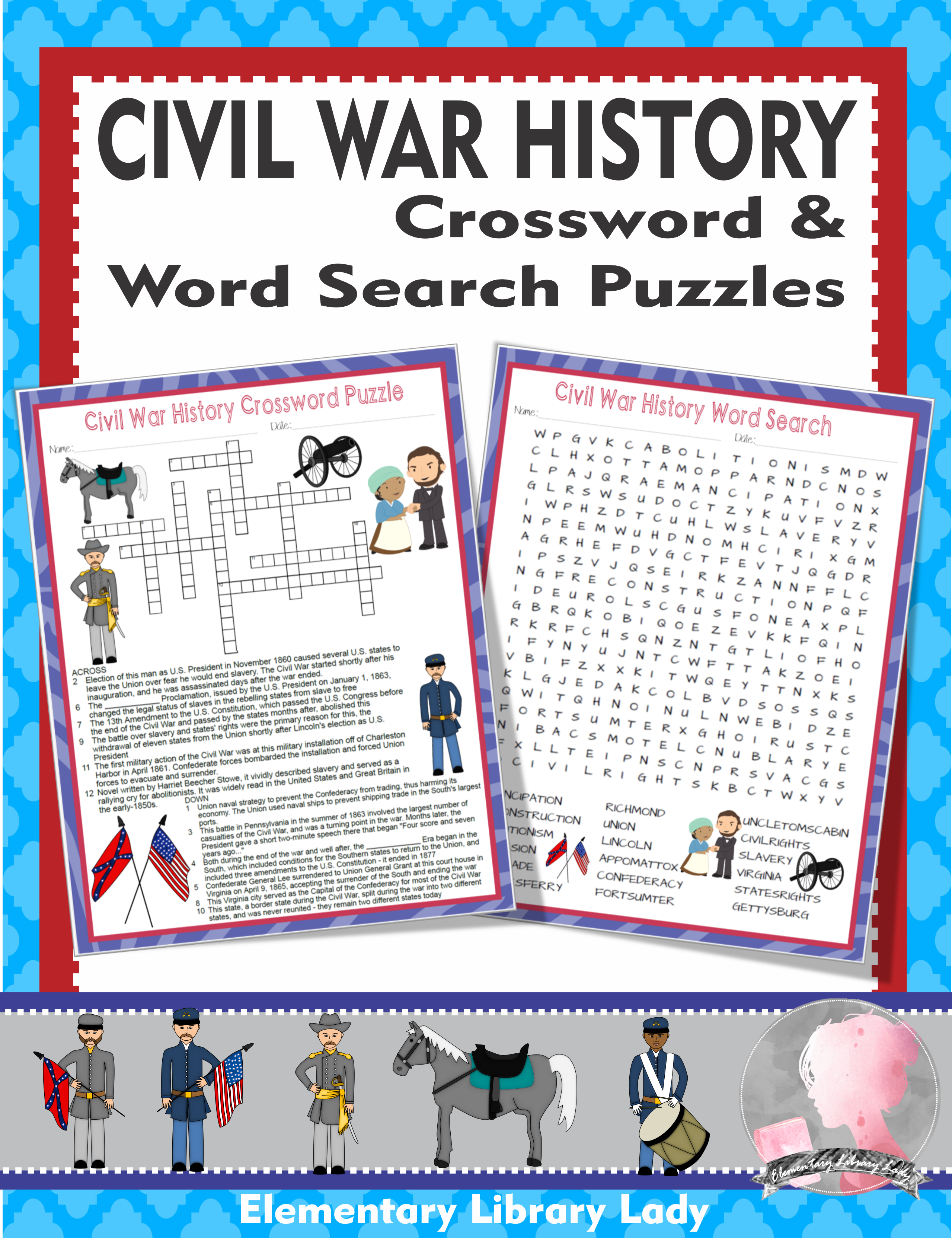 Civil War Activities History Crossword Puzzle And Word