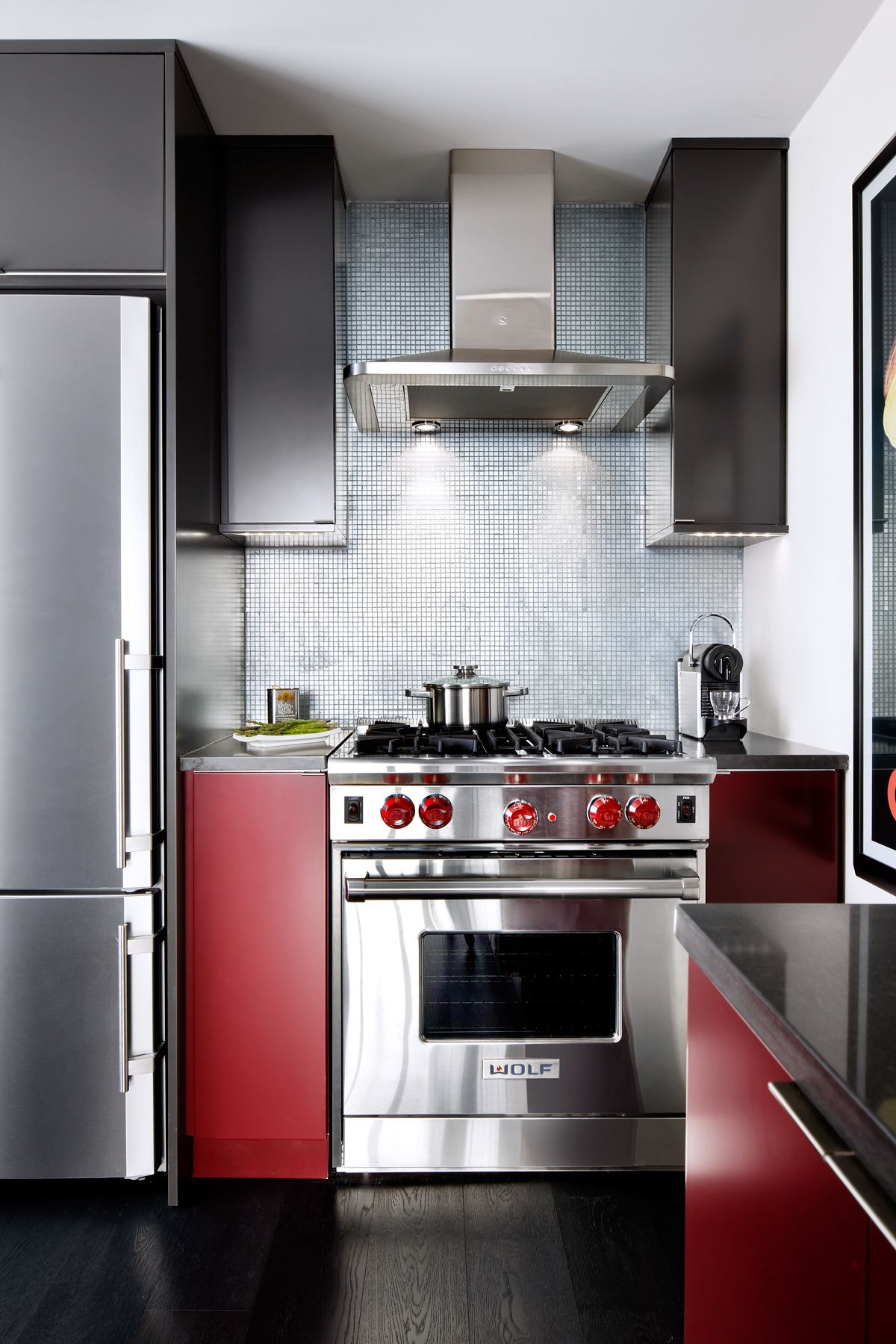 Red Grey High Gloss Kitchen Designed By Toronto Interior Design Group Www Tidg Ca Modern Kitchen Kitchen Design Toronto Interior Design