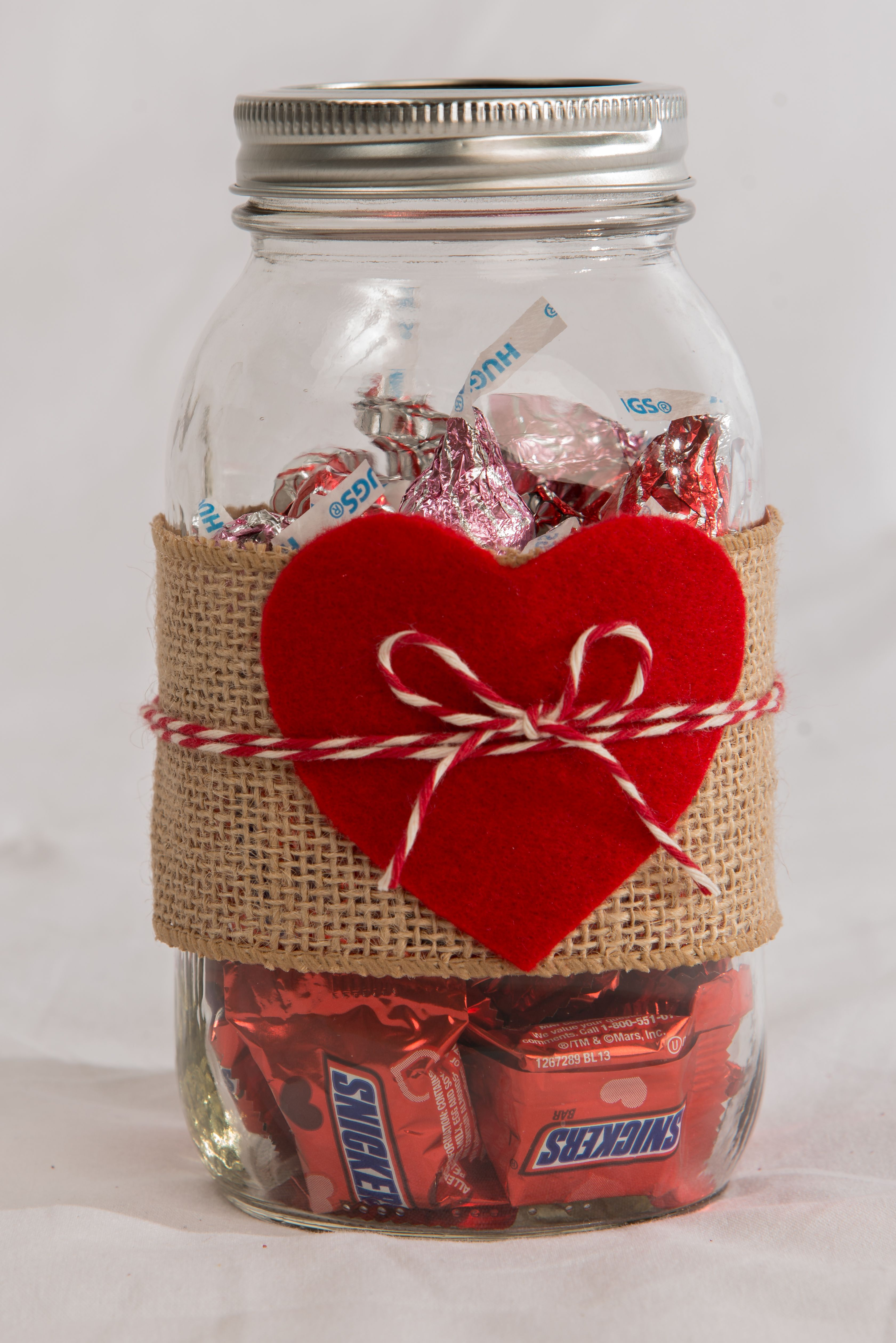 Valentine S Mason Jar Decorated With Burlap Felt Heart And Some