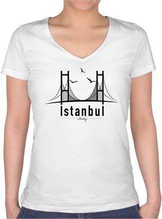 İstanbul Tipografi 4 Kendin Tasarla - Bayan V Yaka Tişört