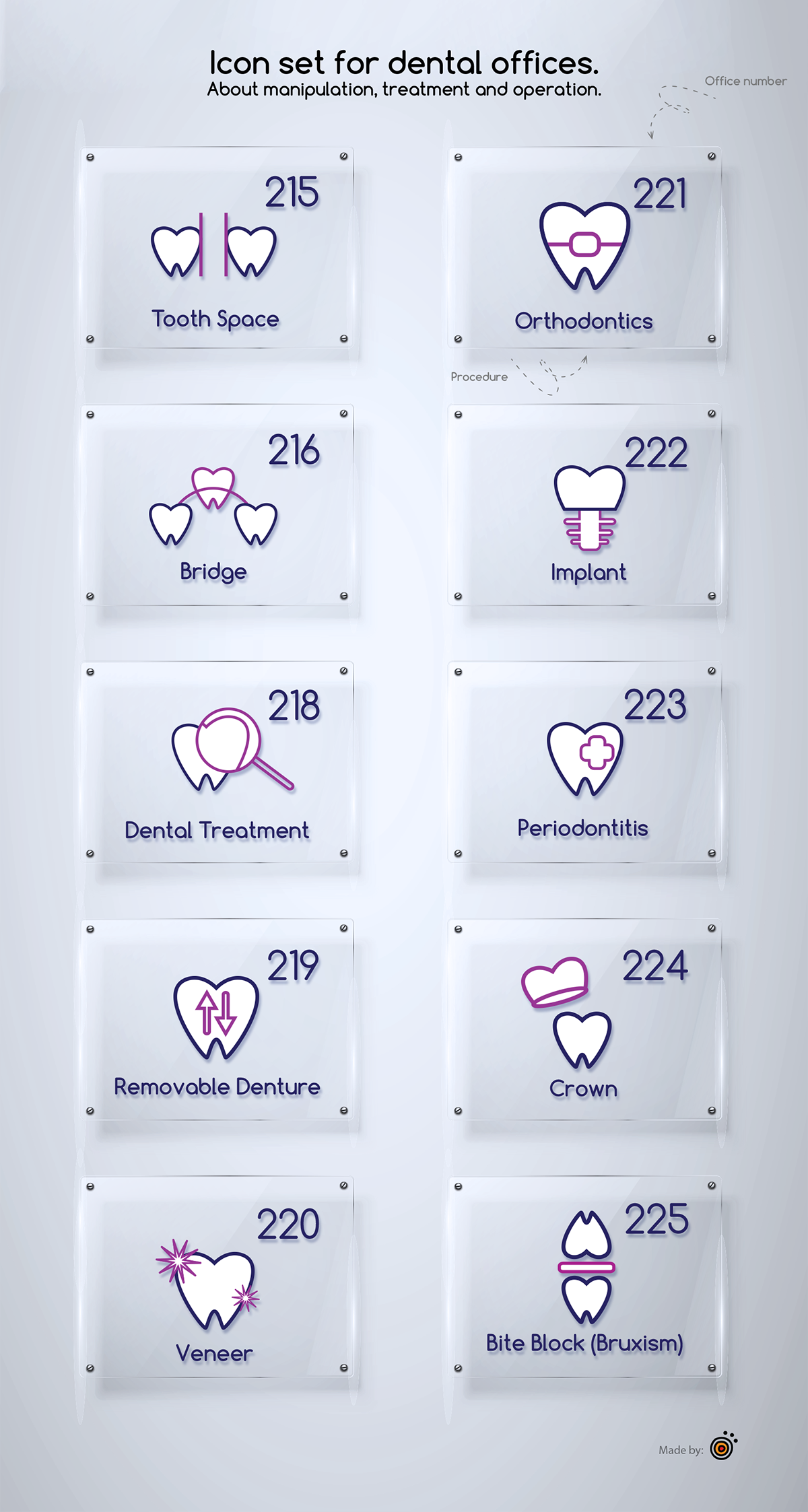 Dentist icon set on Behance (With images) Dental office