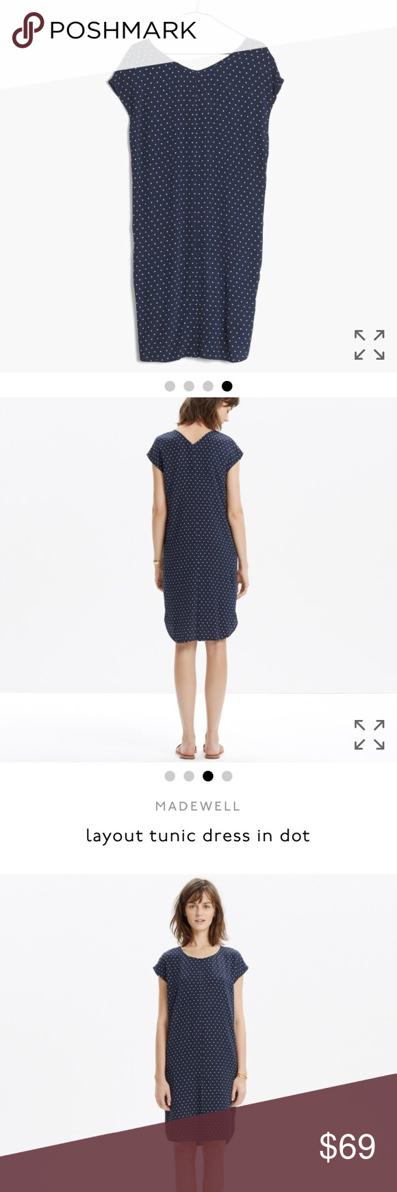 b0e006c9a4a Madewell layout tunic dress in dot Sold out Madewell layout tunic dress in  dot. Navy blue. Polka dot design. Madewell Dresses