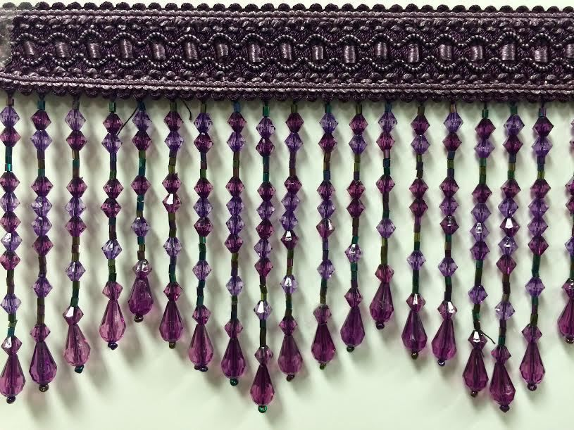 "$10/yard - + $12 shipping and handling (could be split among class) - 4.5"" CRYSTAL BEADED TASSEL FRINGE. Tassel Fringe. Every tassel is made by hand. The colors and yarns are produced to my specifications. 