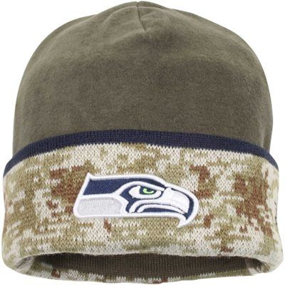 b4ca48a5b Mens Seattle Seahawks New Era Olive Camo 2014 Salute to Service On-Field  Cuffed