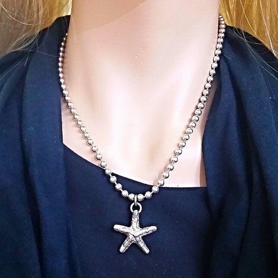 Starfish  Pendant Free Shipping Silver Starling by OsnatAmizurJD