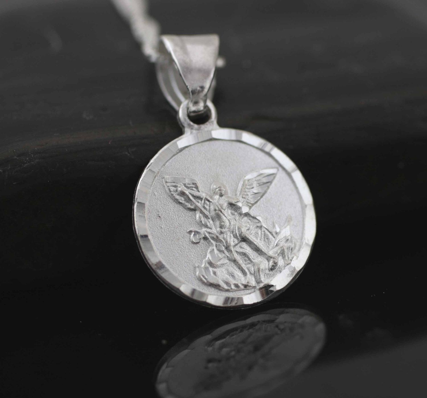 Sterling silver st michael necklace saint michael archangel sterling silver st michael necklace saint michael archangel pendant small st michael medal sterling silver medal st michael prayer aloadofball Image collections