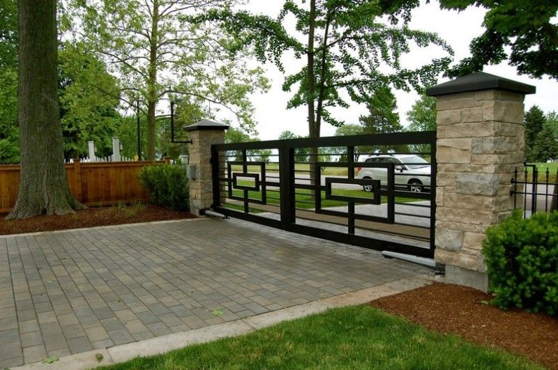 Decorating, Awesome Terrace With Modern Iron Fences Design And White Brick:  Sustainable Wrought Iron Idea