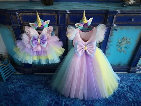 Unicorn Birthday Dress Set, Includes Hair Crown, Luxury Colourful Costume, Rainbow Babygirl Tutu, Unicorn Theme Birthday Clothes, Customize