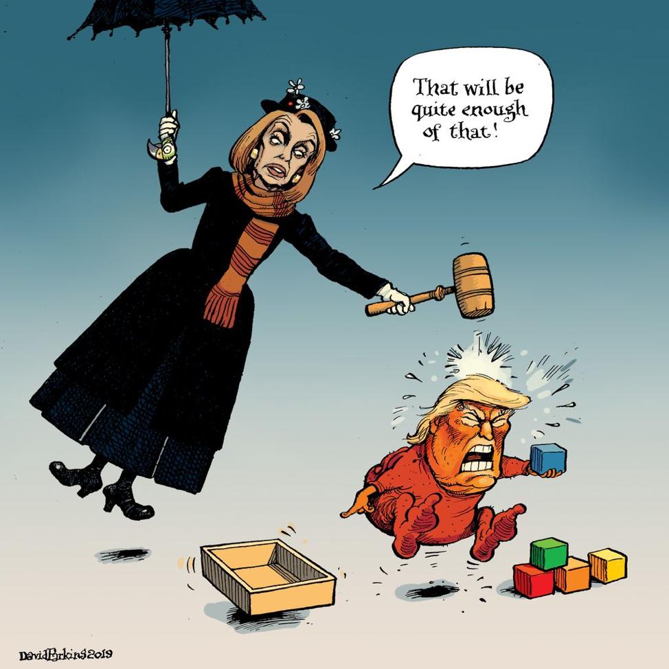 01 31 2019 9 21a Pelosi Pounds Trump Political Satire