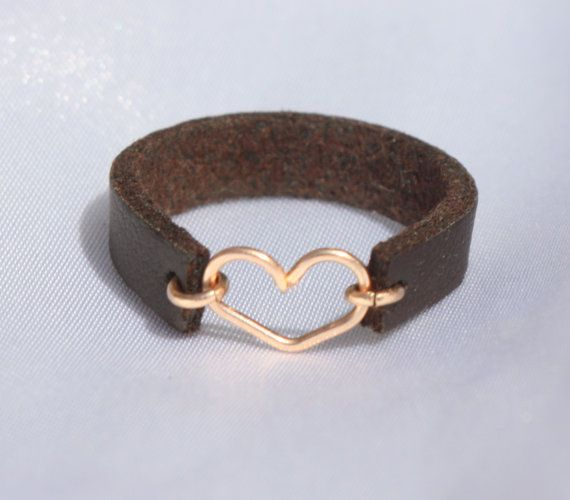 Leather Heart Ring / Heart ring / Gold and Leather ring / Any Size Leather rings / Tiny Heart ring / Rose Gold ring / leather band ring #beautifulviews