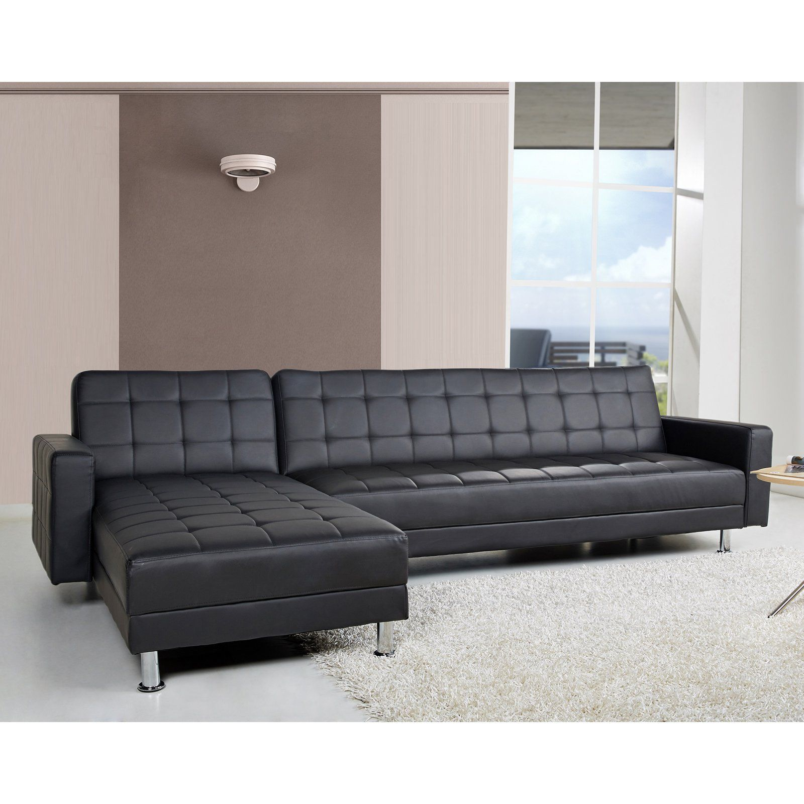 Gold Sparrow Frankfort Convertible Sectional Sofa Black