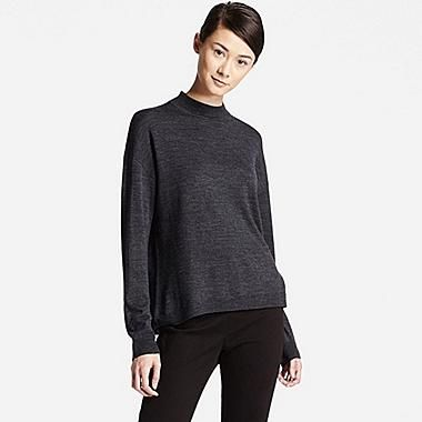 Women Extra Fine Merino Wool High Neck Sweater | Merino wool, Dark ...