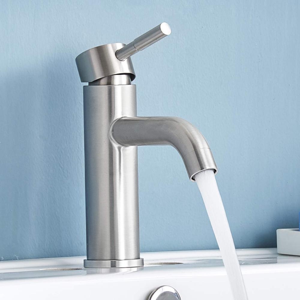 Shaco Commercial Stainless Steel Vanity Single Handle Bathroom Faucet Brushe Bathroom Sink Faucets Brushed Nickel Sink Faucets Bathroom Faucets Brushed Nickel