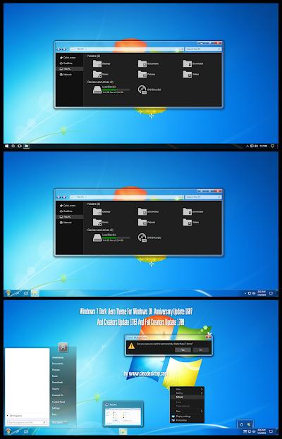 Windows 7 Dark Aero Theme Windows10 Fall Creators Update