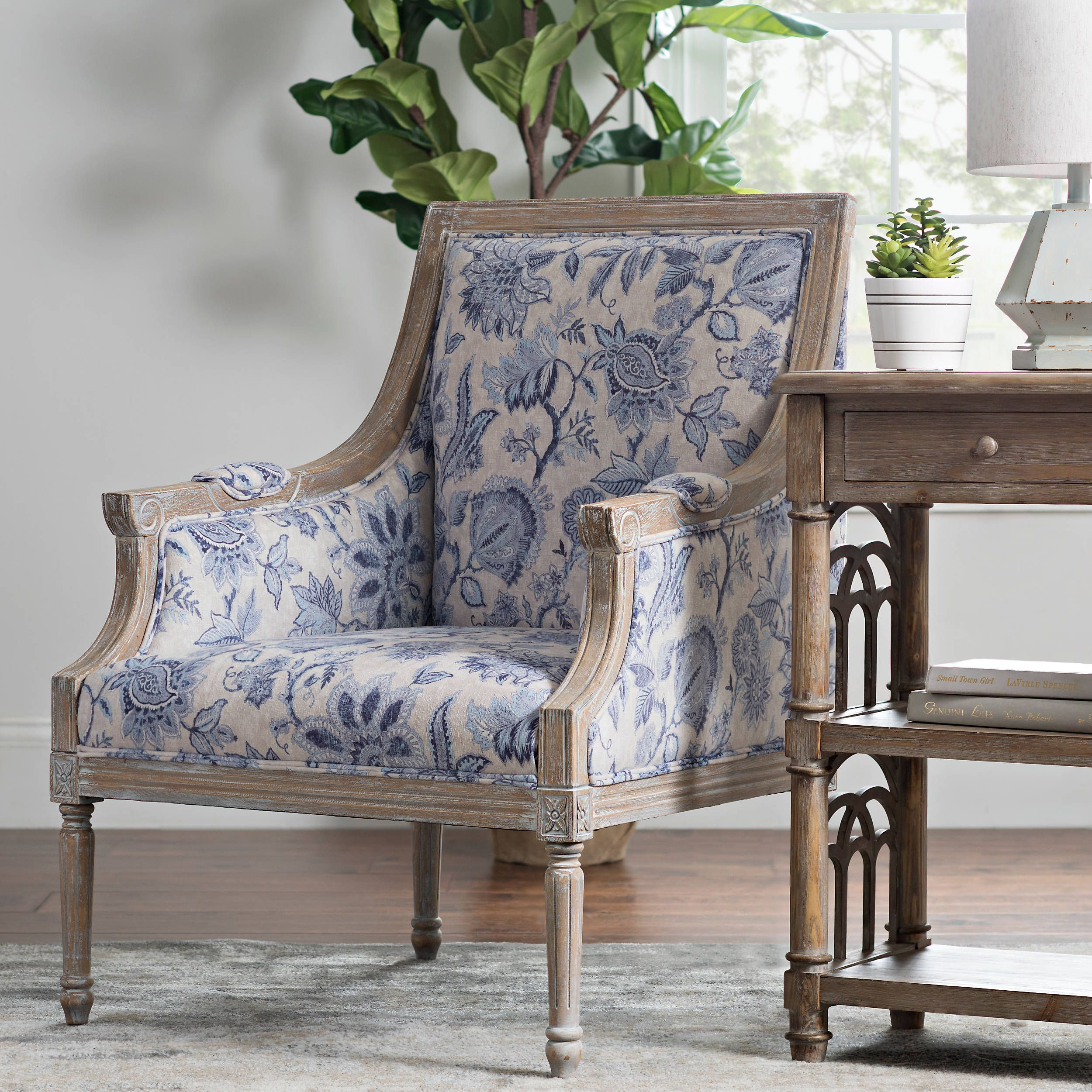 Best Mckenna Blue Floral Accent Chair Blue Accent Chairs 640 x 480