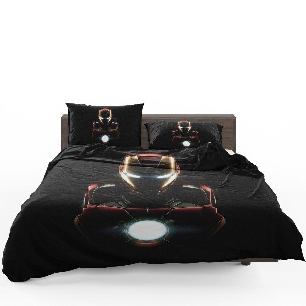 Marvel Avenger Iron Man Dark Theme Bedding Set Bed Linens Luxury Grey Linen Bedding Linen Bedding