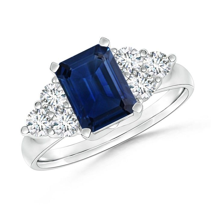 Angara Round Sapphire Engagement Ring in Platinum