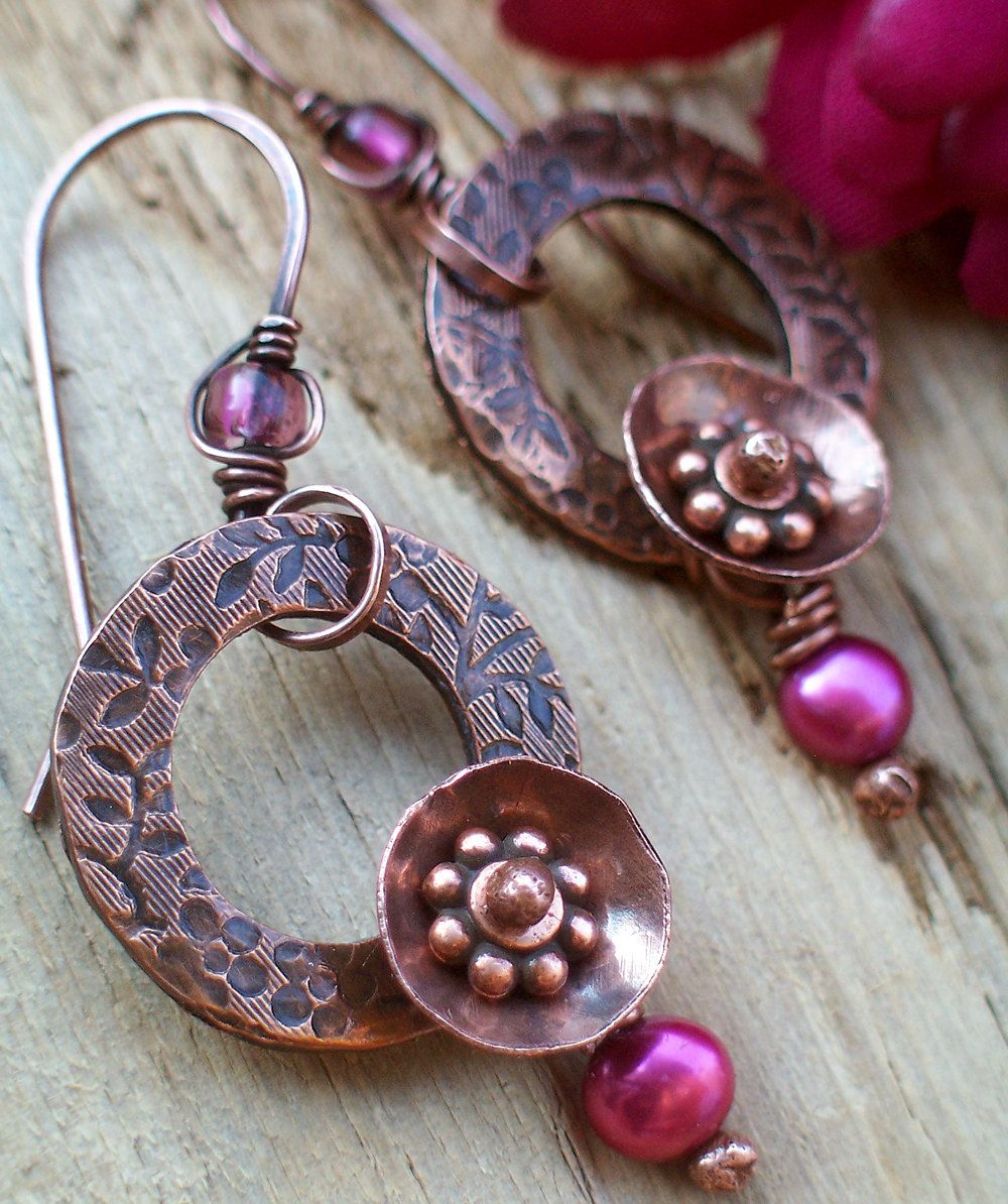 Earrings Fuchsia Pearl with Floral Stamped Antiqued Copper Washer ...