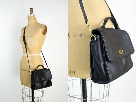 Vintage Black COACH Crossbody Saddle Bag Purse Vintage