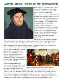 Martin Luther Reading And Common Core Worksheet With Images