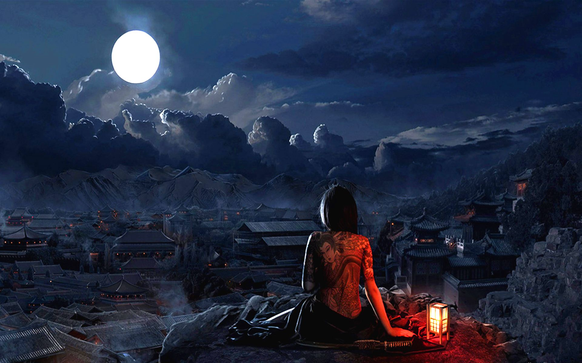 full moon wallpaper | girl with tatto full moon wallpaper | that