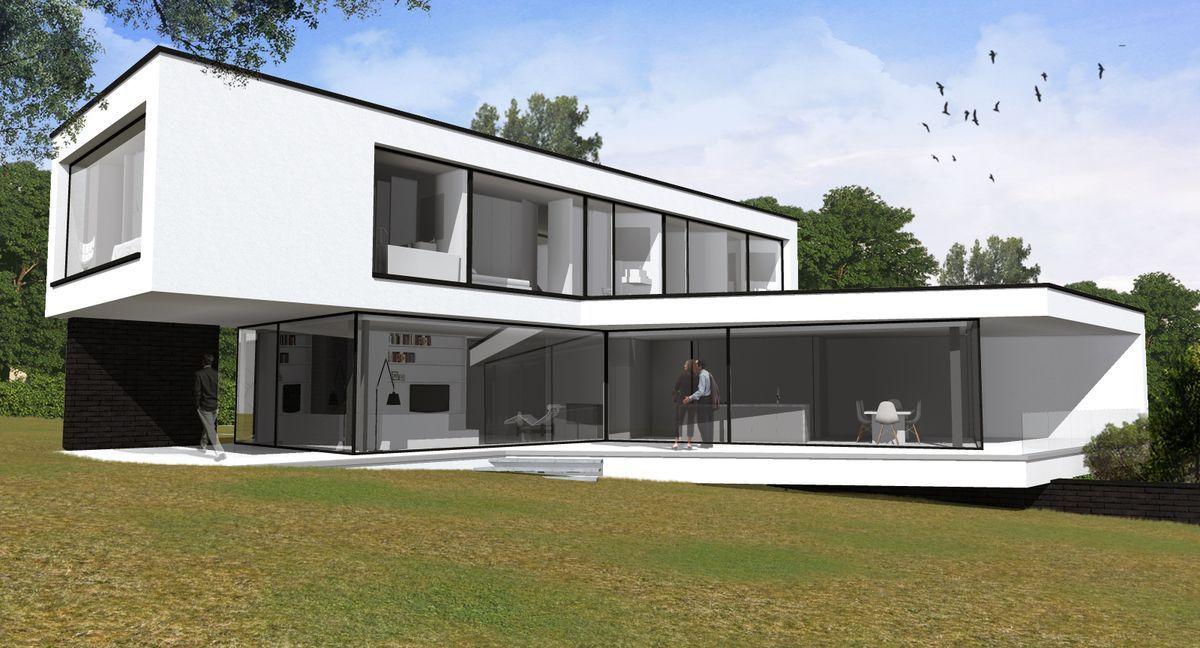 Une villa contemporaine à toit plat dans le Brabant wallon ...
