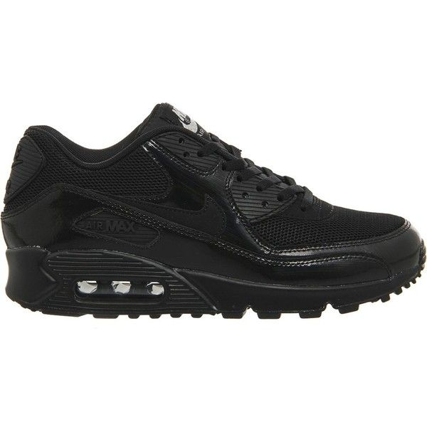 NIKE Air max 90 suede and mesh trainers (1 315 SEK) ❤ liked on Polyvore featuring shoes, sneakers, black silver, mesh shoes, lacing sneakers, strappy shoes, lace up sneakers e strap sneakers