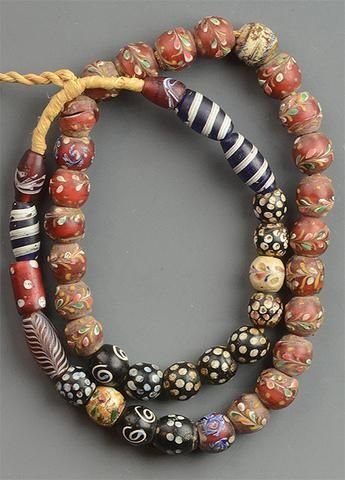 Strand Of Rare Fancy Trade Beads African Beads Necklace African Trade Beads Tribal Jewelry