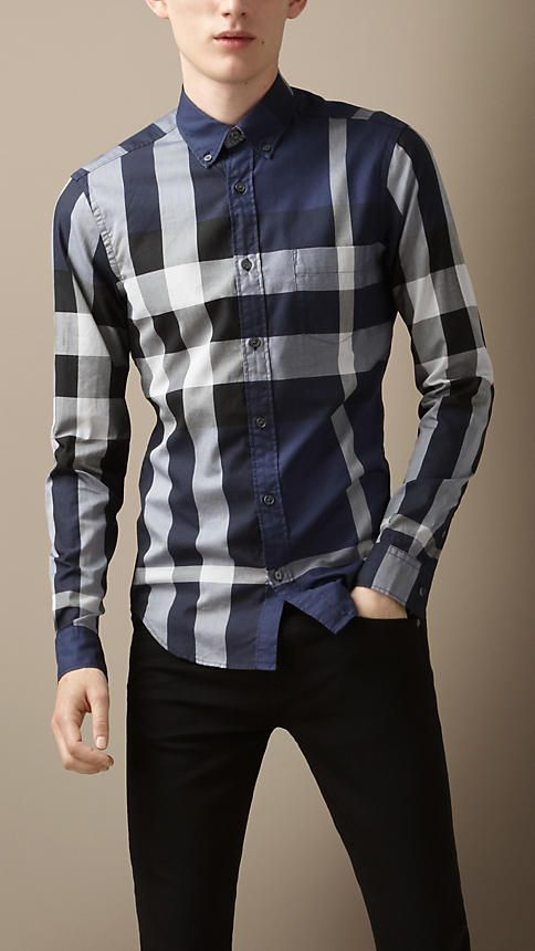 3adf0f91559f Giant Exploded Check Cotton Shirt   Burberry   !! Handsome Look in ...