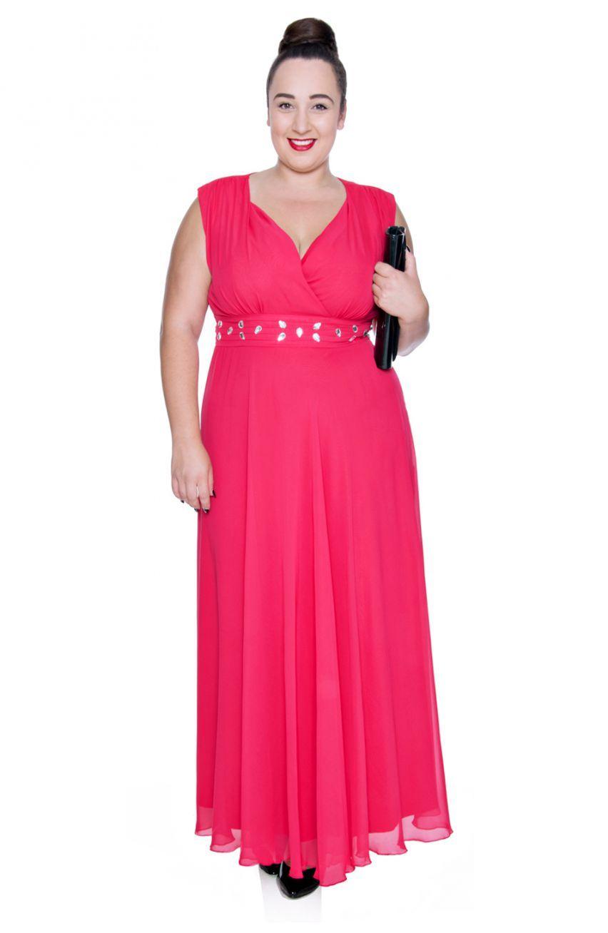20c58c1e0a68f2 Długa malinowa szyfonowa sukienka z szalem - Modne Duże Rozmiary ...