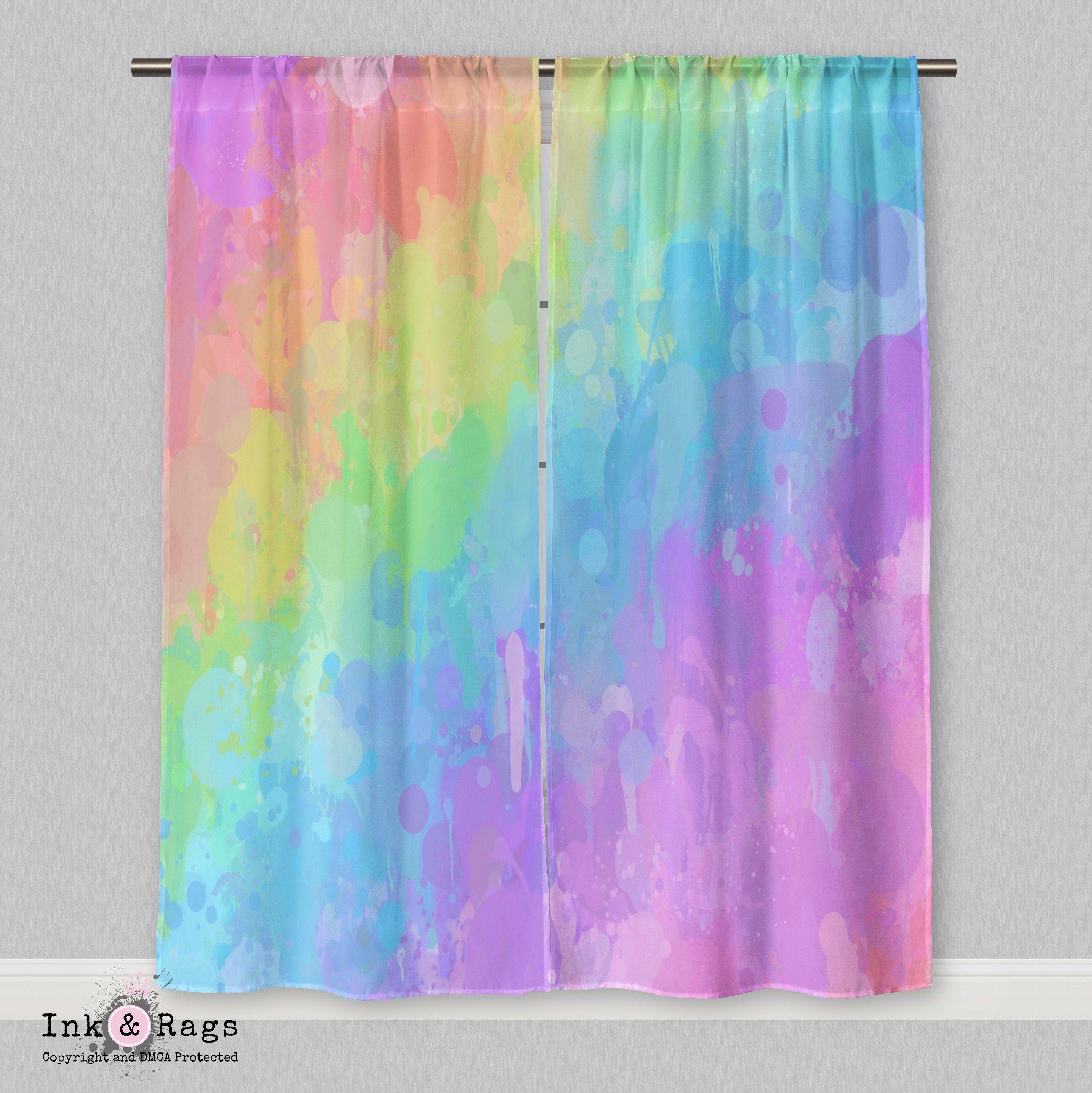 Best Rainbow Paint Splatter Curtains Rainbow Painting 400 x 300