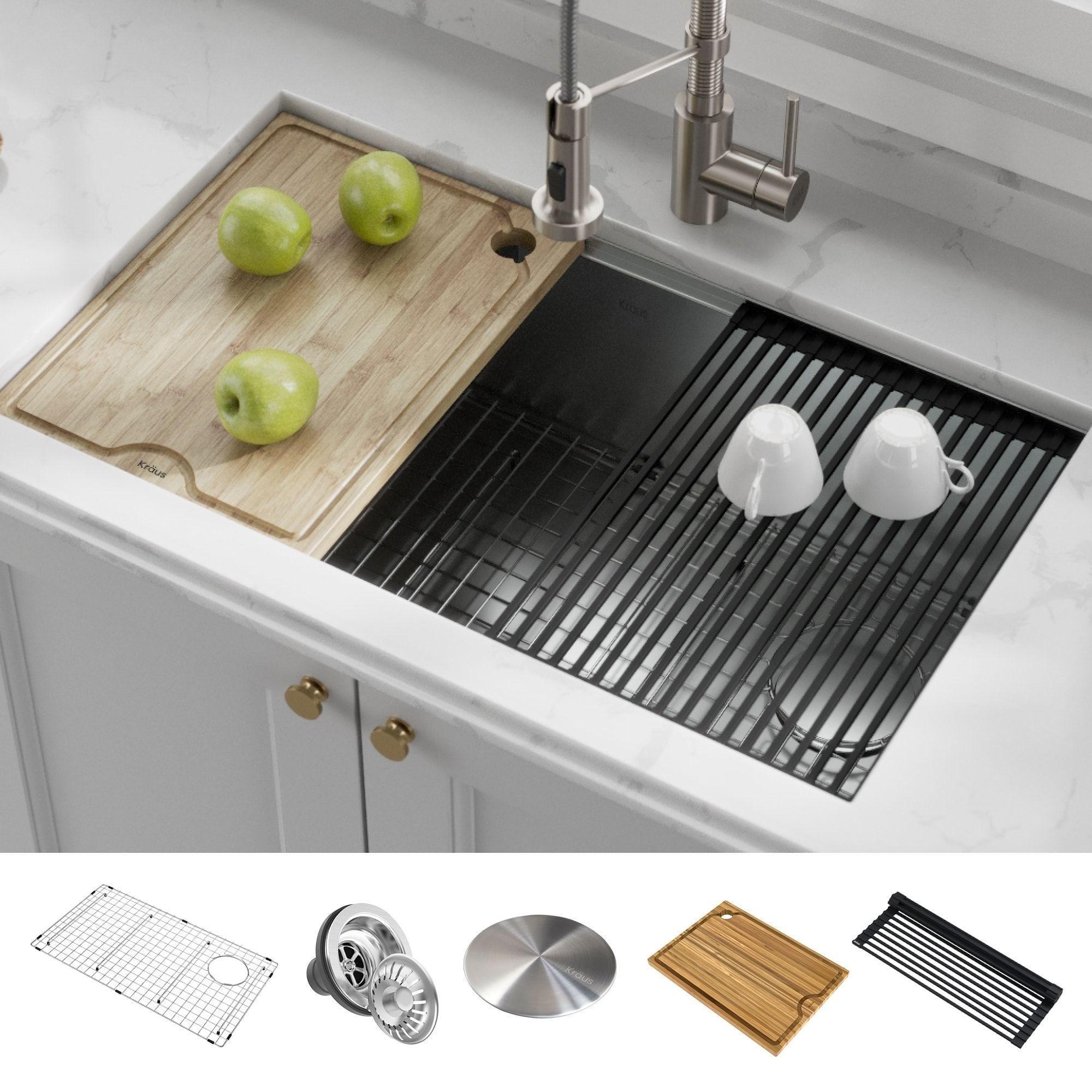 Kraus Kore Workstation Undermount Stainless Steel Kitchen Sink Single Bowl Overall Size 23 Inch L X 19 Inch W Gray In 2020 Single Bowl Kitchen Sink Steel Kitchen Sink Stainless Steel Kitchen