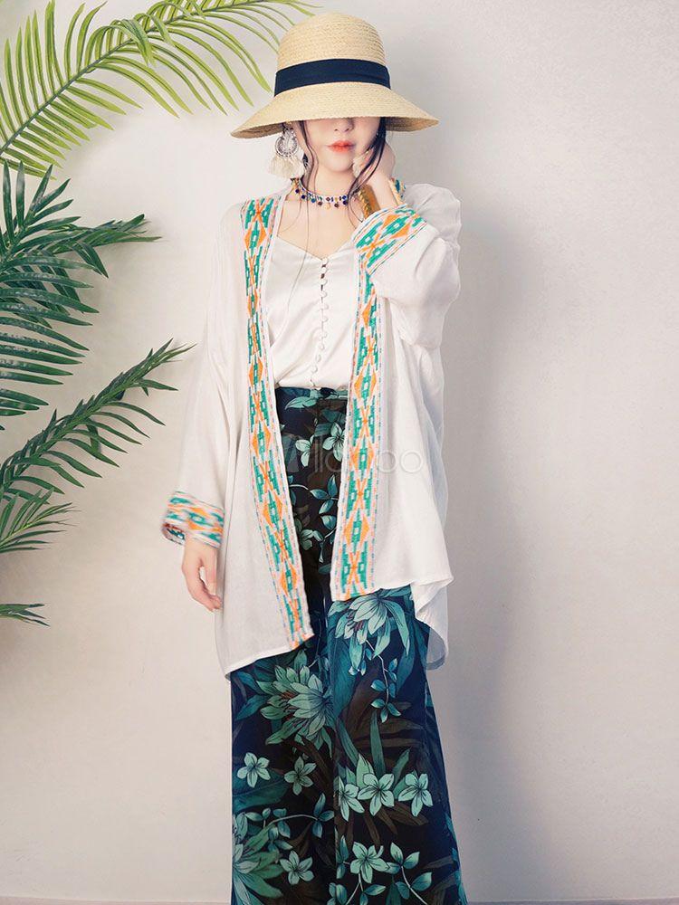 Kimono robe white women cover up long sleeve cotton linen