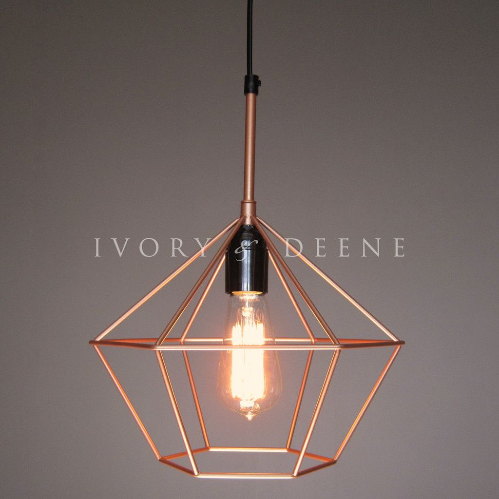 Diamond Cage Pendant Copper Tone Wire Light