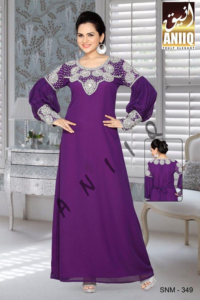 Women Kaftan Abaya Jilbab Islamic Muslim Long Sleeve Maxi Dress 349