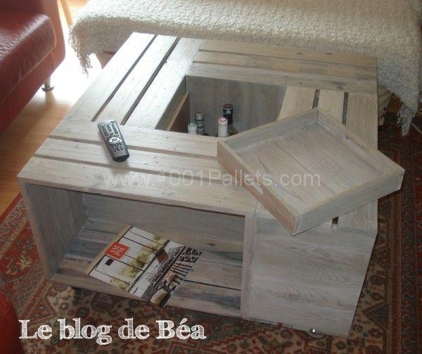 Table basse bar en bois de palettes pallet coffee table - Table basse palette blanche ...