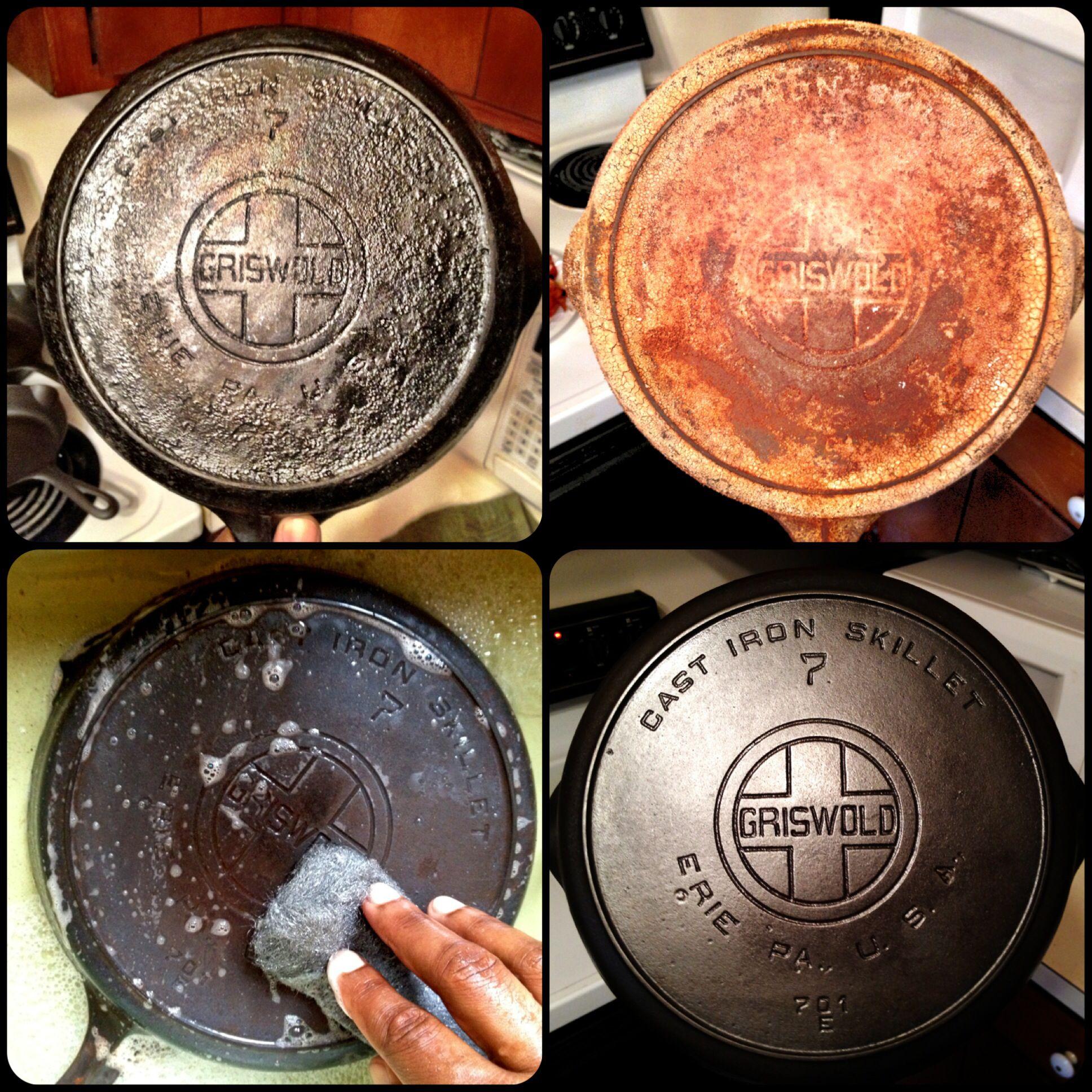 Restoring A Griswold 7 Large Block Epu Skillet Castiron Griswold Skillet Cookware Vintage Antique Restoration