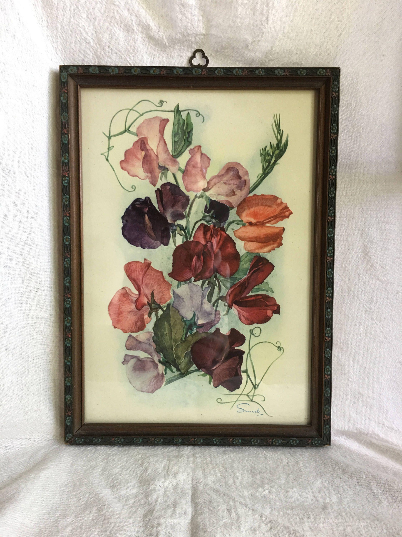 Smeele Sweet Peas Print Vintage Wall Art