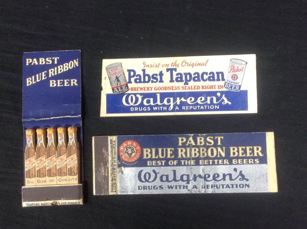 3 Pabst Blue Ribbon Beer Matchbooks 1930 S Walgreens Rare