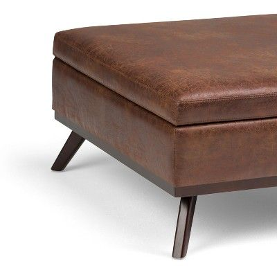 Ethan Square Coffee Table Storage Ottoman Distressed Saddle Brown