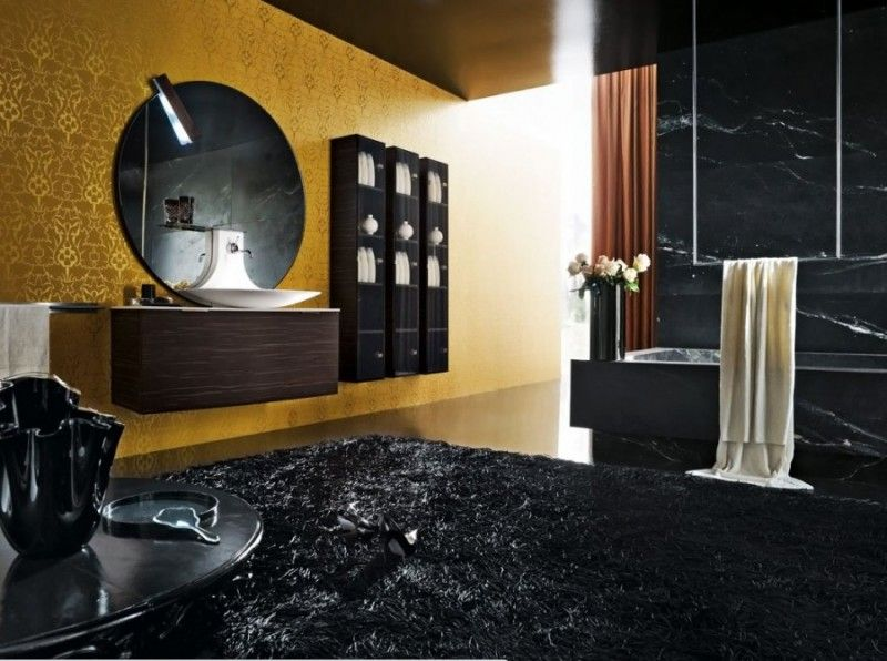 photo 14 modern luxury bathroom in black color and gold wall decor love it - Black Luxury Modern Bathroom