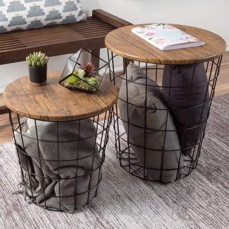 Nesting End Tables with Storage- Set of 2 Convertible Round Metal Basket Veneer Wood Top Accent Side Tables for Home and Office By Lavish Home (Black) - Walmart.com